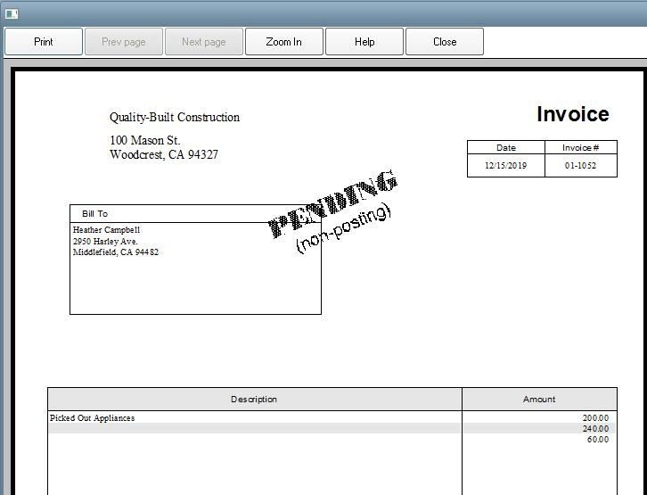 Making Invoice Pending Removing Pending Stamp QuickBooks Desktop - Quickbooks invoice pending non posting